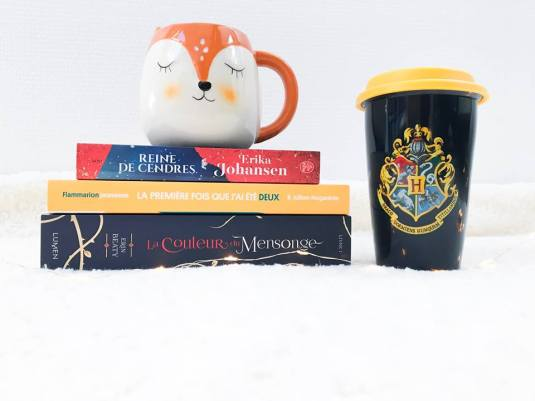 Bookhaul de Septembre 2018 : Reine de cendres ; La première fois que j'ai été deux ; La couleur du mensonge ; mug renard ; travel mug Harry Potter