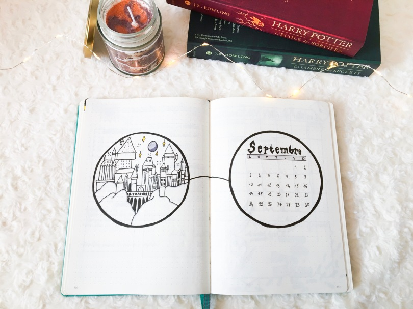 Bullet Journal de Septembre - Page de présentation Harry Potter