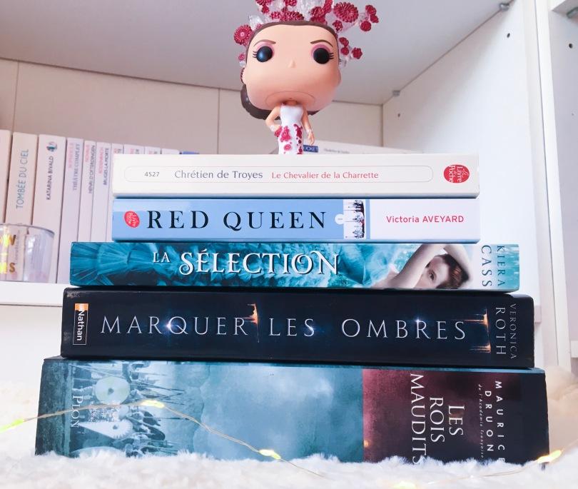 Give Me Five Books - 5 livres avec des rois et des reines - Le Chevalier de la Charrette; Red Queen T1; La Sélection T1; Marquer les ombres T1; Les rois maudits